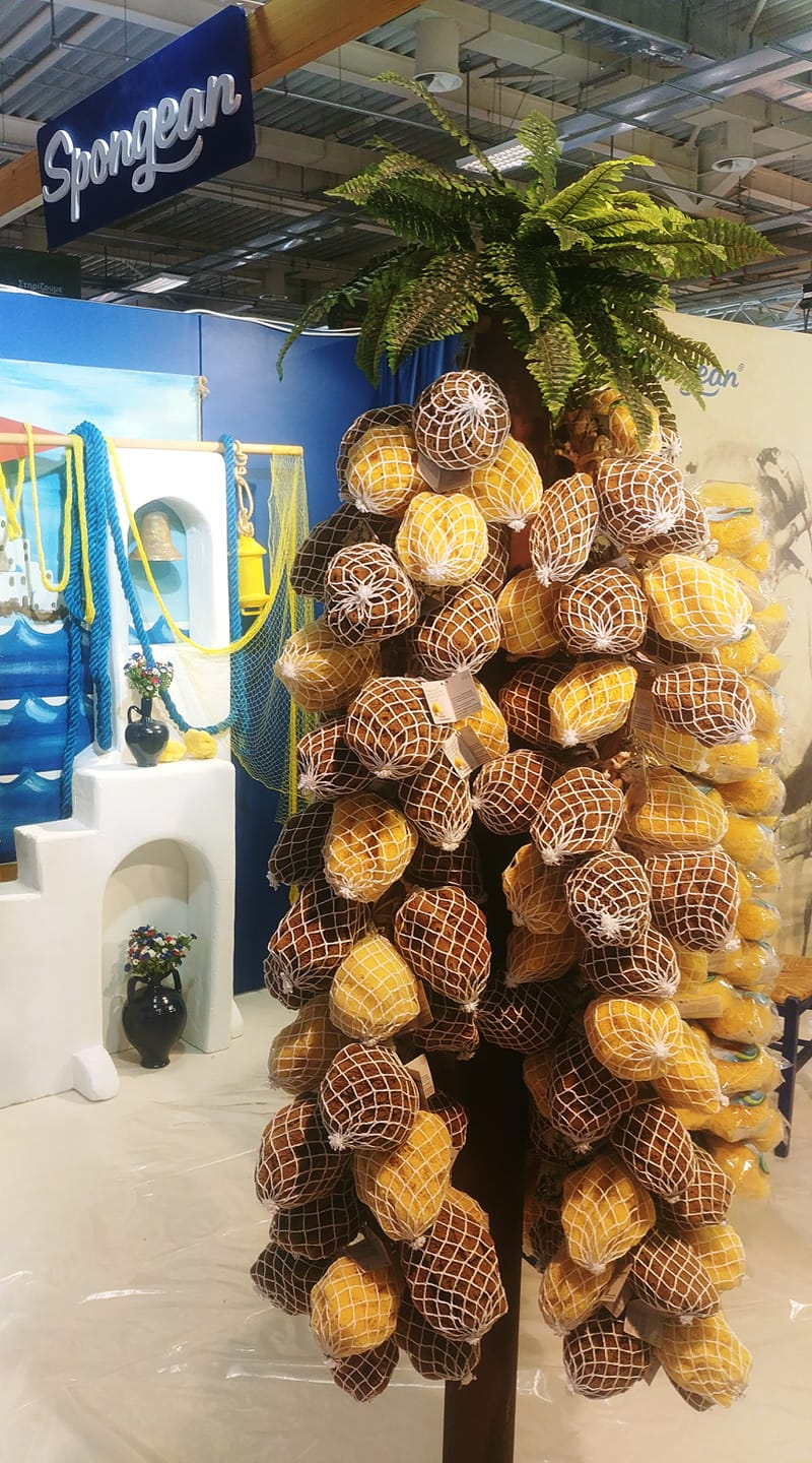 Natural Sea Sponges in nets on a palm tree - From the Metropolitan Popular Art Expo 2019 in Greece