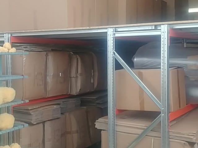 Storage of sponges in our warehouse